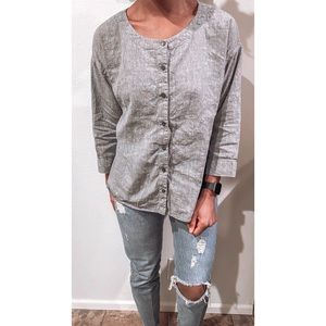 Eileen Fisher Linen Button Down Tunic Size Small